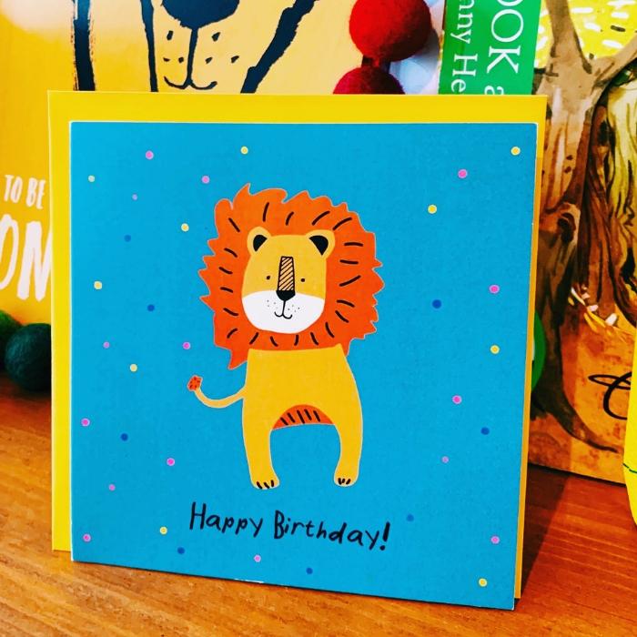 Geburtstagskarte für Kinder mit Löwe